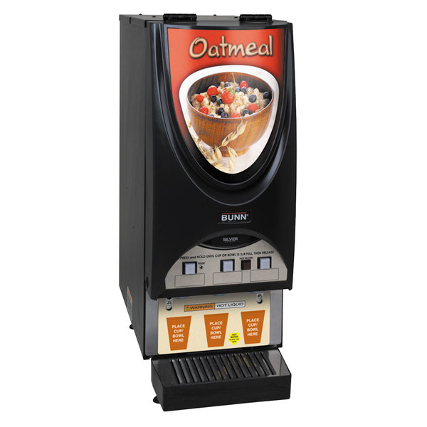 Bunn 38600.0054 iMIX-3S Silver Series Oatmeal Dispensing System with 3 Hoppers and Illuminated Graphics Main Image 1