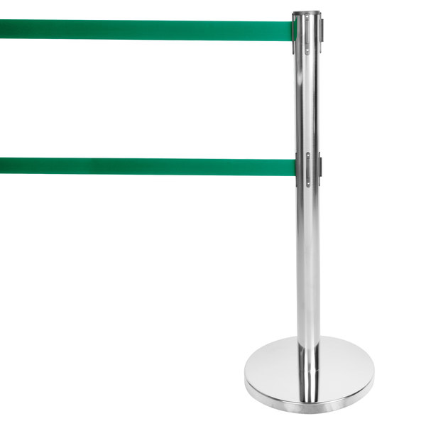 "Aarco HS-27 Satin 40"" Crowd Control / Guidance Stanchion with Dual 84"" Green Retractable Belts"