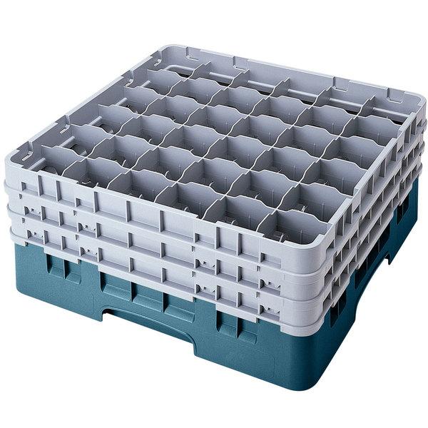 "Cambro 36S958414 Teal Camrack Customizable 36 Compartment 10 1/8"" Glass Rack"
