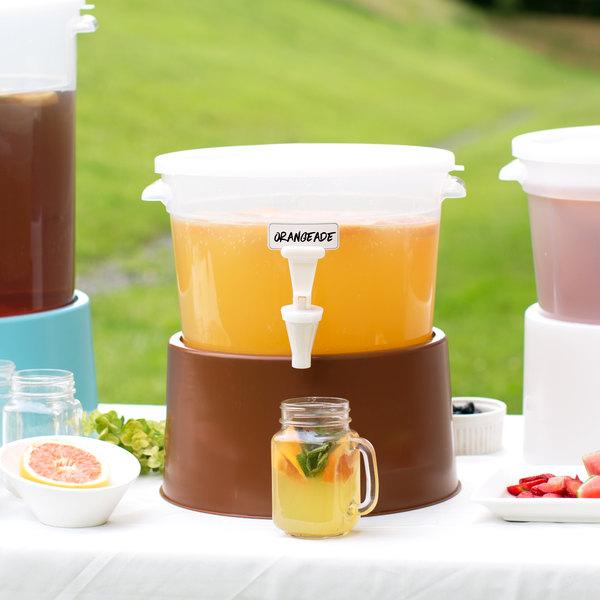 Choice Round 3 Gallon Translucent Beverage Dispenser with Brown Base