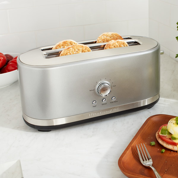 Kitchenaid Kmt4116cu Contour Silver 4 Slice Long Slot Toaster With