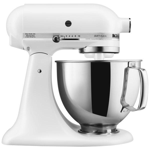 Kitchenaid Ksm150psfw Series Matte White 5 Qt Tilt Head Countertop Mixer 120v