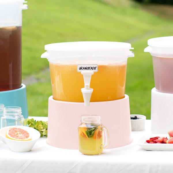Choice Round 3 Gallon Translucent Beverage Dispenser with Rose Base