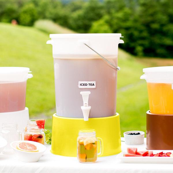 Choice Round 6 Gallon White Beverage Dispenser with Yellow Base