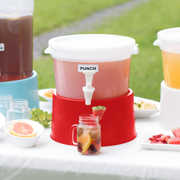 Choice Round 3 Gallon White Beverage Dispenser with Red Base
