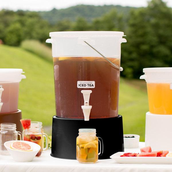 Choice Round 6 Gallon Translucent Beverage Dispenser with Black Base