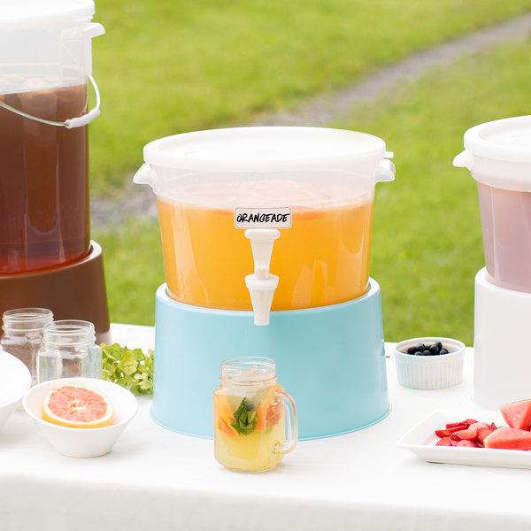 Choice Round 3 Gallon Translucent Beverage Dispenser with Blue Base