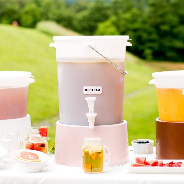 Choice Round 6 Gallon White Beverage Dispenser with Rose Base