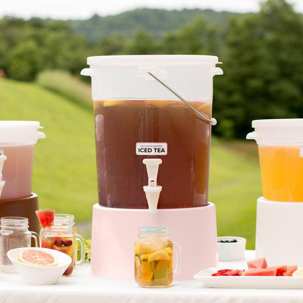 Choice Round 6 Gallon Translucent Beverage Dispenser with Rose Base