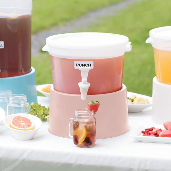 Choice Round 3 Gallon White Beverage Dispenser with Rose Base