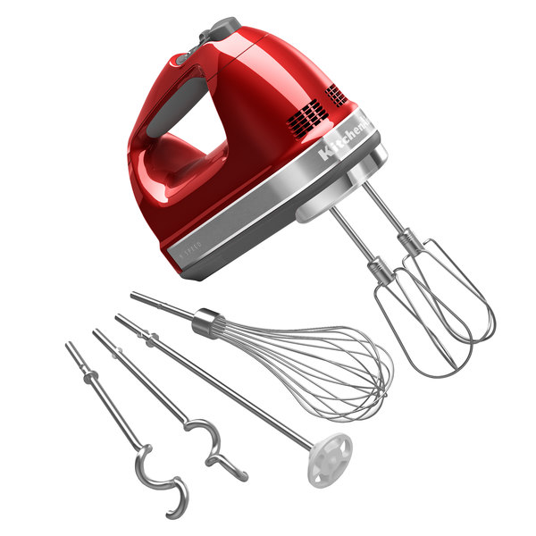 KitchenAid KHM926CA Candy Apple Red 9 Speed Hand Mixer with Stainless Steel Turbo Beaters, Pro Whisk, Dough Hooks, and Blending Rod - 120V