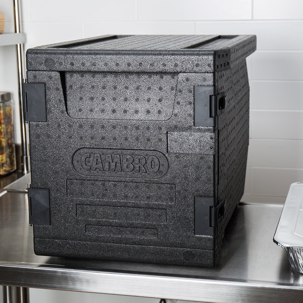 """Cambro EPP300110 Cam GoBox® Black Full Size Front Loader Insulated Food Pan Carrier - 25 3/16"""" x 17 1/4"""" x 18 11/16"""""""