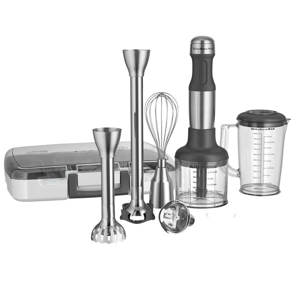 "KitchenAid KHB2571SX Brushed Stainless Steel 5 Speed Immersion Hand Blender with 8"" and 13"" Blending Arms, Interchangeable Blade Assemblies, Whisk, and Chopper - 120V"