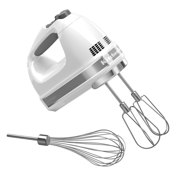 KitchenAid KHM7210WH White 7 Speed Hand Mixer with Stainless Steel Turbo Beaters and Pro Whisk - 120V Main Image 1