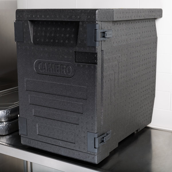 "Cambro EPP400110 Cam GoBox® Black Full Size Front Loader Insulated Food Pan Carrier - 25 3/16"" x 17 1/4"" x 24 9/16"""