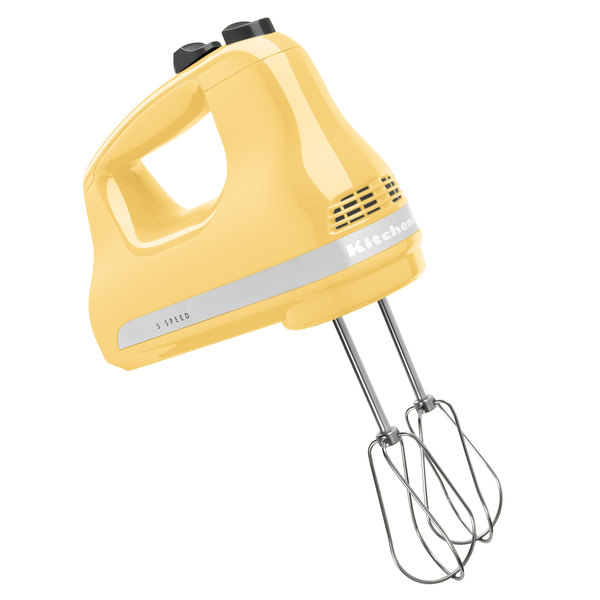 KitchenAid KHM512MY Ultra Power Majestic Yellow 5 Speed Hand Mixer with Stainless Steel Turbo Beaters - 120V