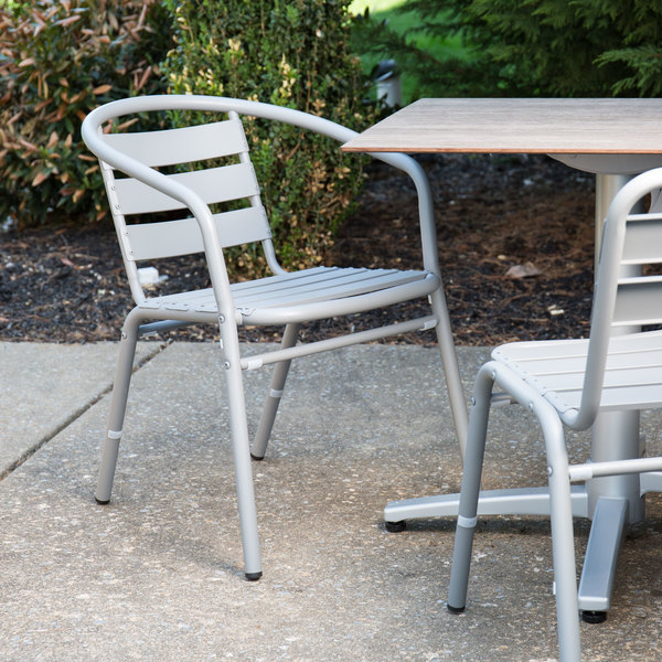 BFM Seating MS0021SG Capri Soft Gray Aluminum Outdoor / Indoor Arm Chair
