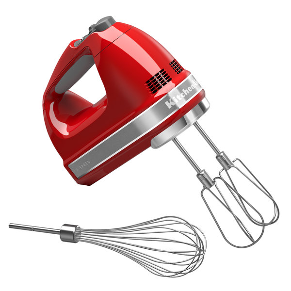 KitchenAid KHM7210ER Empire Red 7 Speed Hand Mixer with Stainless Steel Turbo Beaters and Pro Whisk - 120V