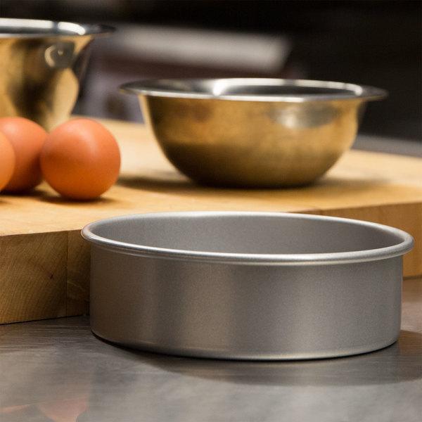 "6"" x 2"" Round Glazed Aluminized Steel Straight Sided Cake / Deep Dish Pizza Pan Main Image 4"