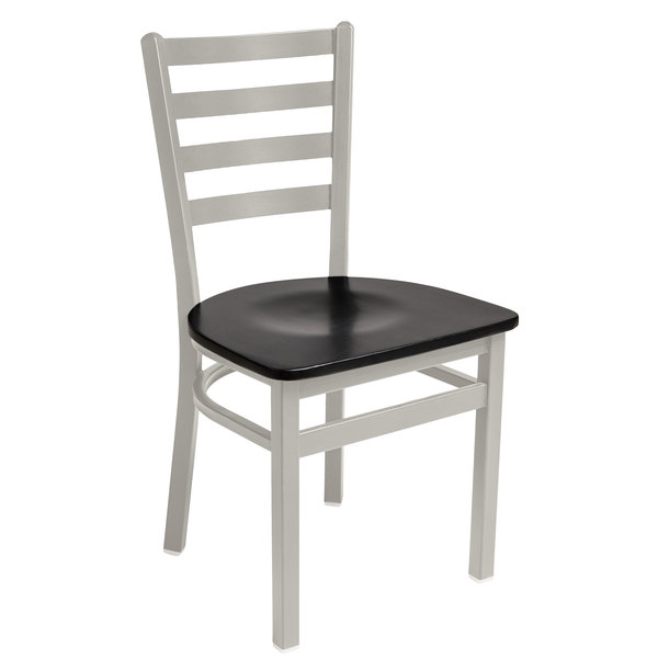 BFM Seating 2160CBLW-SM Lima Silver Mist Steel Side Chair with Black Wooden Seat Main Image 1