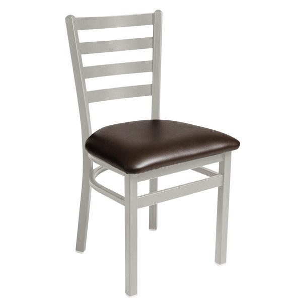 "BFM Seating 2160CDBV-SM Lima Silver Mist Steel Side Chair with 2"" Dark Brown Vinyl Seat Main Image 1"