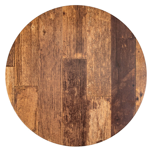 """BFM Seating BW24R SoHo 24"""" Barn Wood Round Outdoor / Indoor Tabletop"""