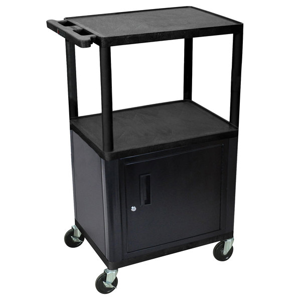 """Luxor LPDUOCE-B 3 Shelf Adjustable A/V Cart with Locking Cabinet and Electrical Assembly - 24"""" x 18"""" x 42"""" Main Image 1"""