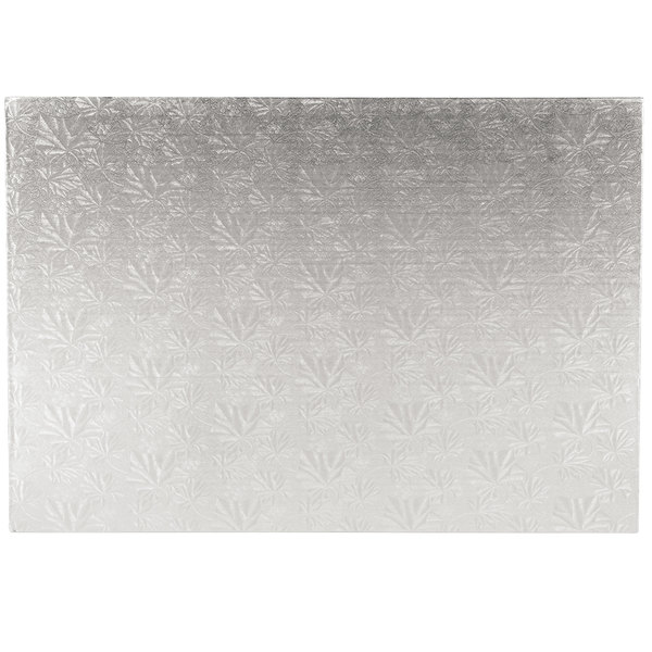 """Enjay 1/4-17122512S12 25 1/2"""" x 18"""" Fold-Under 1/4"""" Thick Full Silver Cake Board Main Image 1"""