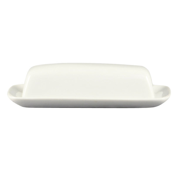 "CAC BTD-8 White Porcelain Butter Dish with Cover 8 1/4"" x 4 1/4"" - 12/Case"
