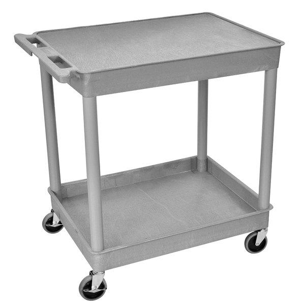 "Luxor TC21-G Gray 1 Tub, 1 Shelf Utility Cart - 24"" x 32"" x 35 3/4"""