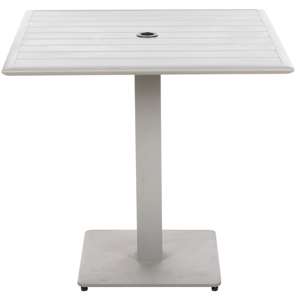 """BFM Seating DVS3636TSU South Beach 36"""" x 36"""" Outdoor / Indoor Square Tabletop and Table Base with Umbrella Hole Main Image 1"""