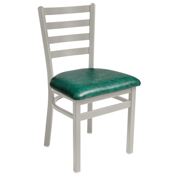 """BFM Seating 2160CGNV-SM Lima Silver Mist Steel Side Chair with 2"""" Green Vinyl Seat Main Image 1"""