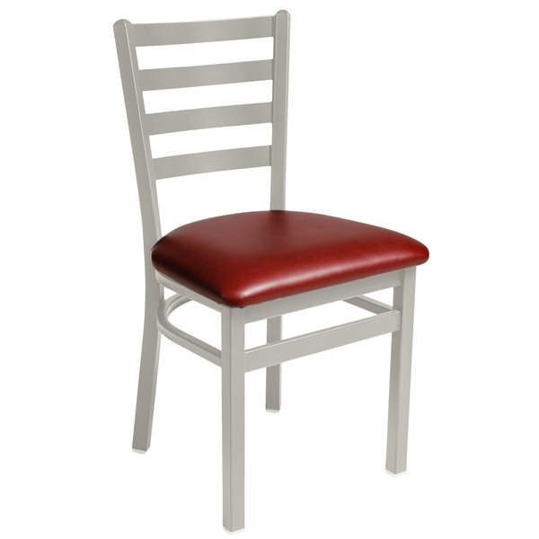 """BFM Seating 2160CBUV-SM Lima Silver Mist Steel Side Chair with 2"""" Burgundy Vinyl Seat Main Image 1"""