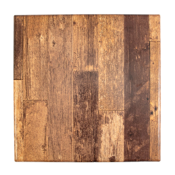 """BFM Seating BW2424 SoHo 24"""" Barn Wood Square Outdoor / Indoor Tabletop Main Image 1"""