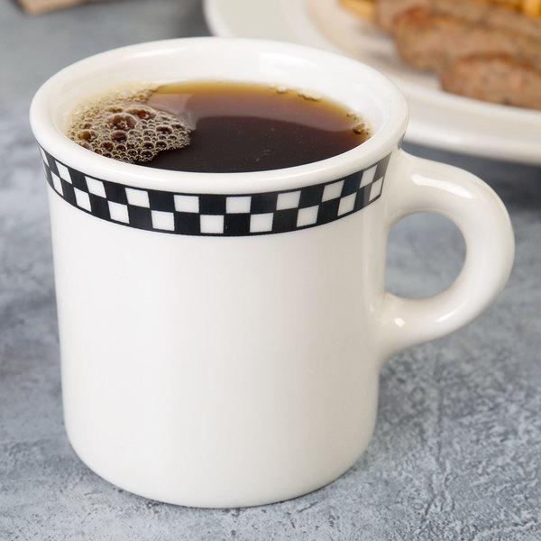 Homer Laughlin Black Checkers 8.75 oz. Creamy White / Off White China Mug - 36/Case