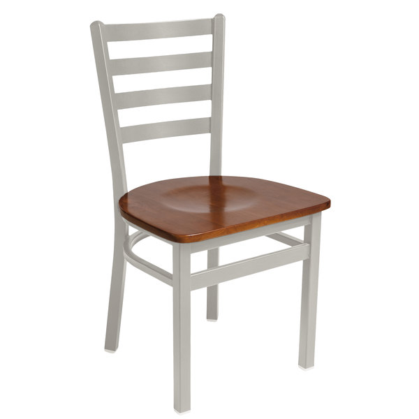 BFM Seating 2160CCHW-SM Lima Silver Mist Steel Side Chair with Cherry Wooden Seat Main Image 1