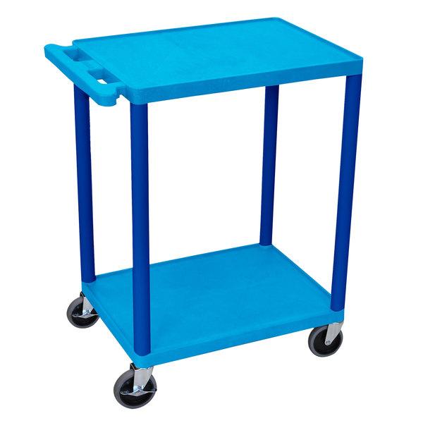 Luxor HE32-BU Blue 2 Shelf Utility Cart Main Image 1