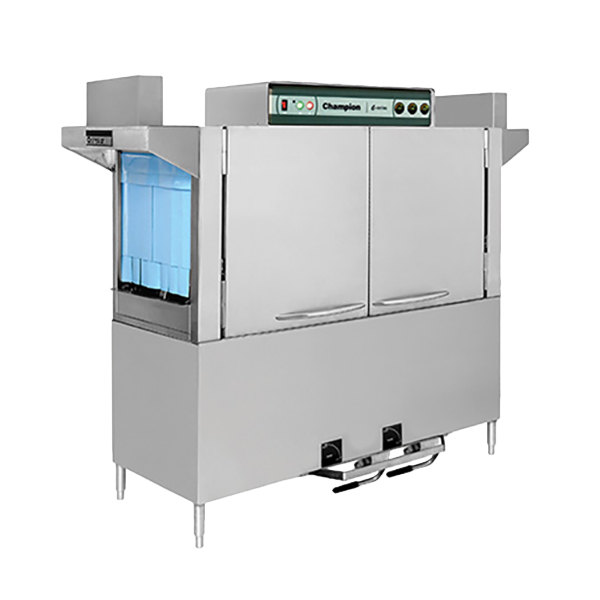 Champion E-Series 64 Dual Tank High Temperature Conveyor Dishwasher, Left to Right - 240V, 3 Phase