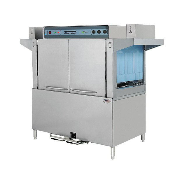 "Champion E-Series 80 DRFFPW Dual Rinse Single Tank High Temperature Conveyor Dishwasher with 26"" Front Feed Prewash, Right to Left - 240V, 1 Phase"