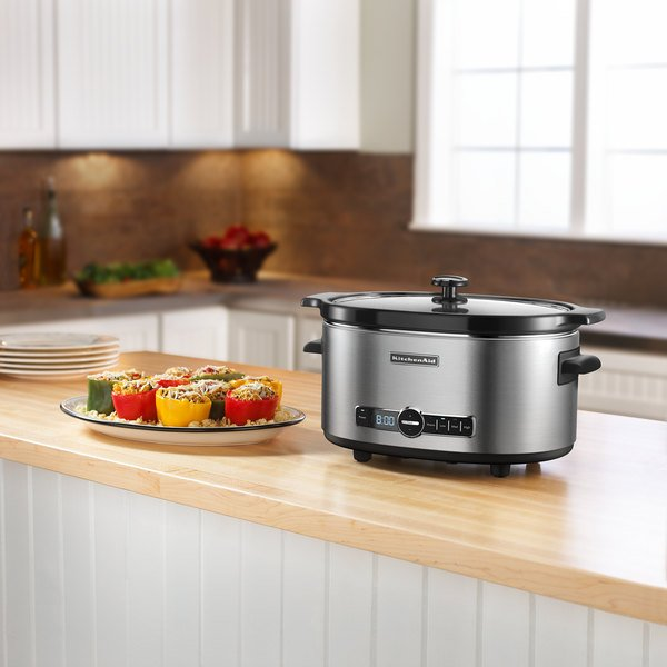KitchenAid KSC6223SS Stainless Steel 6 Qt. Slow Cooker with Solid Glass Lid - 120V Main Image 2
