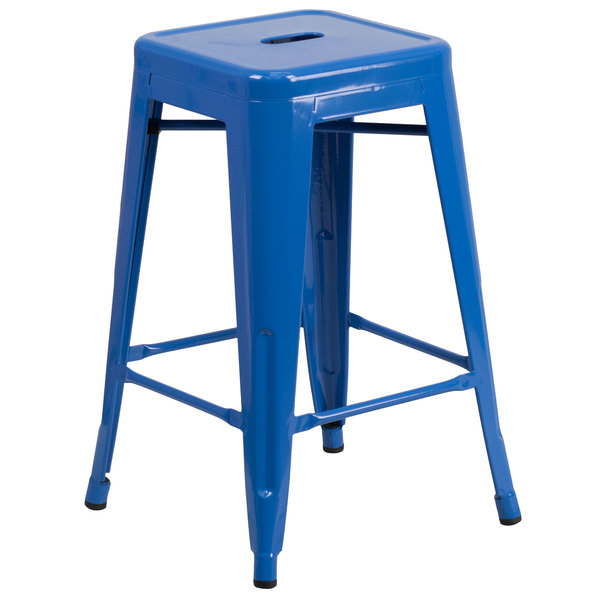 "Flash Furniture CH-31320-24-BL-GG 24"" Blue Stackable Metal Indoor / Outdoor Backless Counter Height Stool with Square Drain Seat Main Image 1"