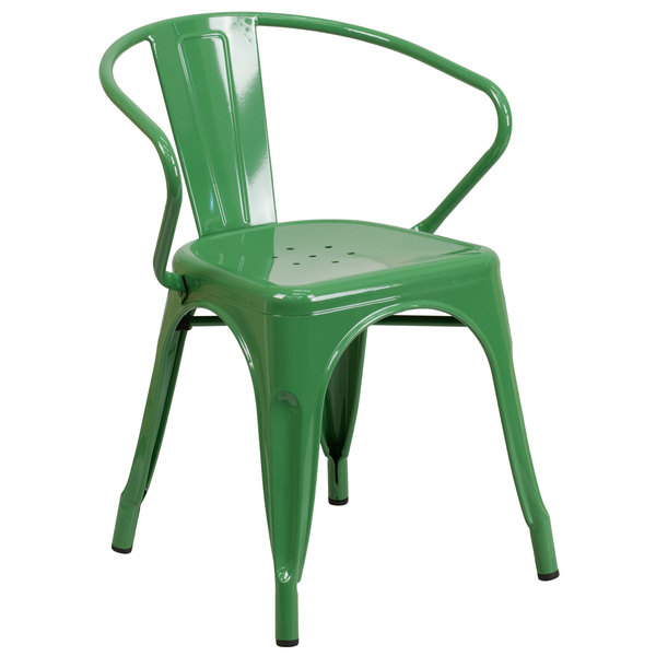 Flash Furniture CH 31270 GN GG Green Stackable Galvanized Steel Chair With  Arms, Vertical Slat Back, ...