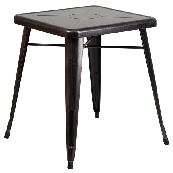 """Flash Furniture CH-31330-29-BQ-GG 23 3/4"""" Black-Antique Gold Metal Indoor / Outdoor Square Cafe Table Main Image 1"""