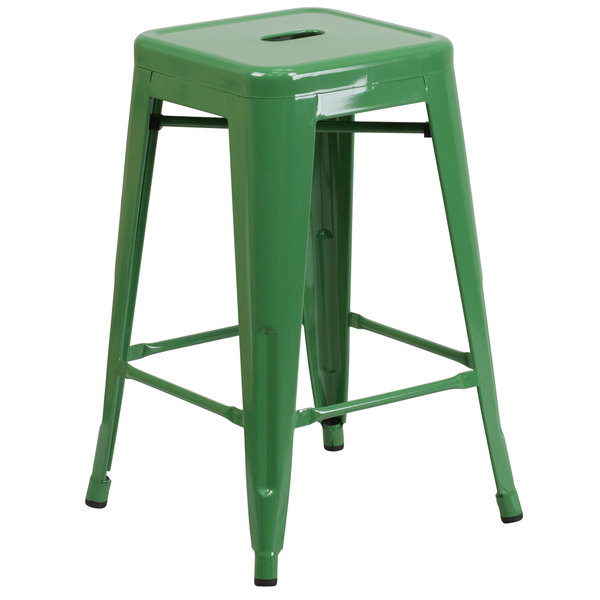 "Flash Furniture CH-31320-24-GN-GG 24"" Green Stackable Metal Indoor / Outdoor Backless Counter Height Stool with Square Drain Seat Main Image 1"