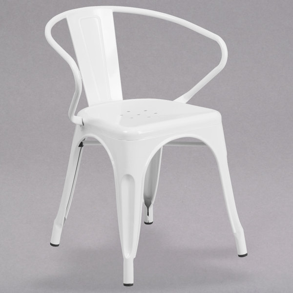 Flash Furniture CH 31270 WH GG White Stackable Galvanized Steel Chair With  Arms, Vertical Slat Back, ...