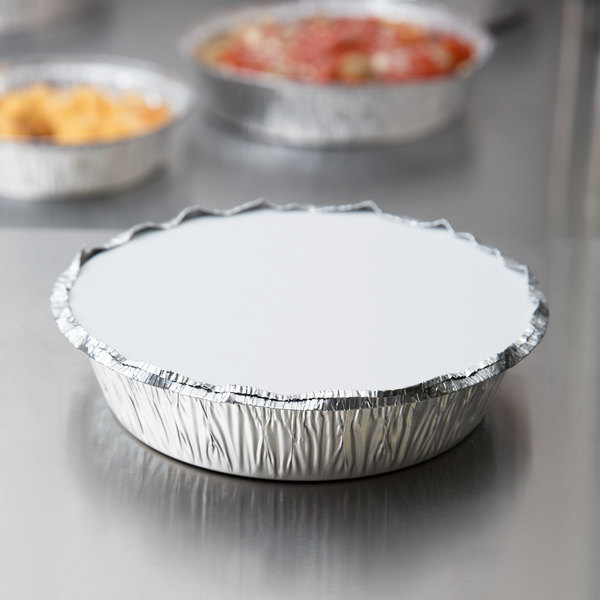 """7"""" Round Foil Take-Out Pan with Board Lid - 200/Case"""