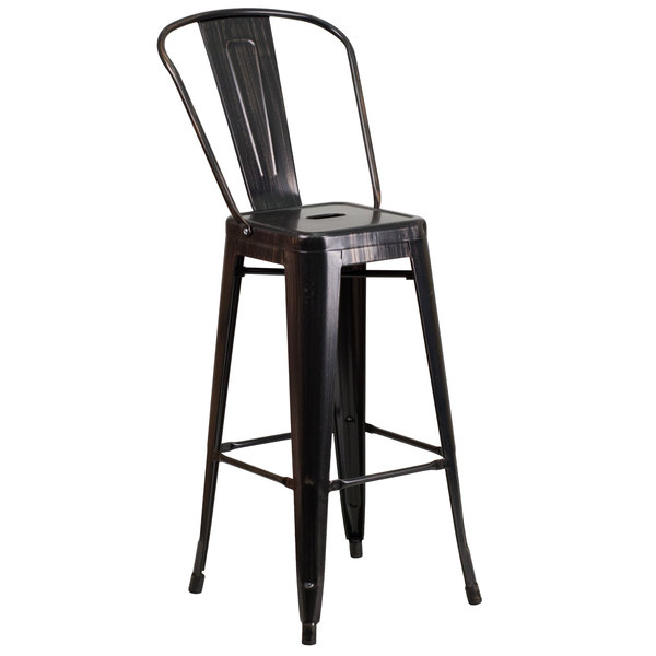 Pleasant Flash Furniture Ch 31320 30Gb Bq Gg 30 Black Antique Gold Metal Indoor Outdoor Bar Height Stool With Vertical Slat Back And Drain Hole Seat Pabps2019 Chair Design Images Pabps2019Com