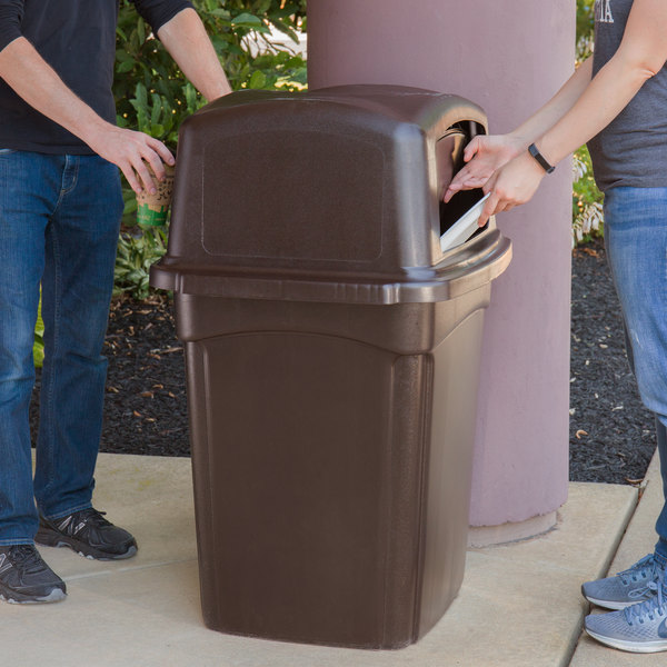Continental 6452BN Colossus 45 Gallon Brown Square Trash Can and Two-Door Lid Main Image 4