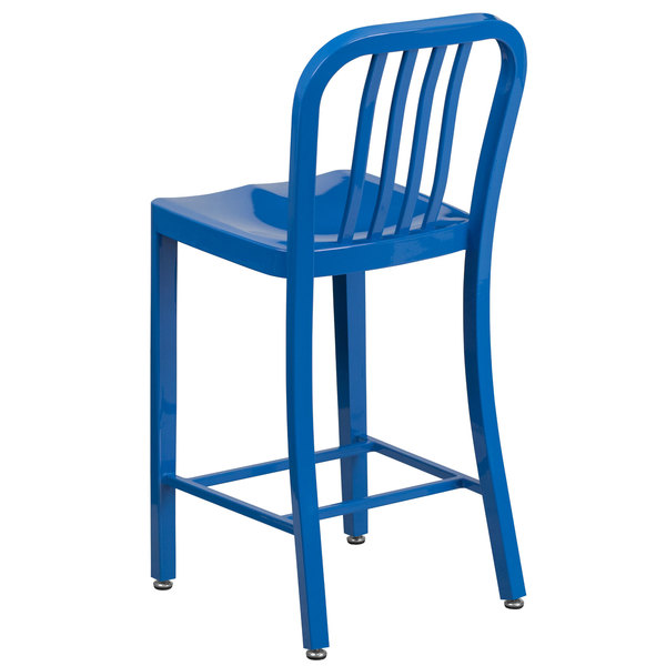 Fantastic Flash Furniture Ch 61200 24 Bl Gg 24 Blue Metal Indoor Outdoor Counter Height Stool With Vertical Slat Back Machost Co Dining Chair Design Ideas Machostcouk