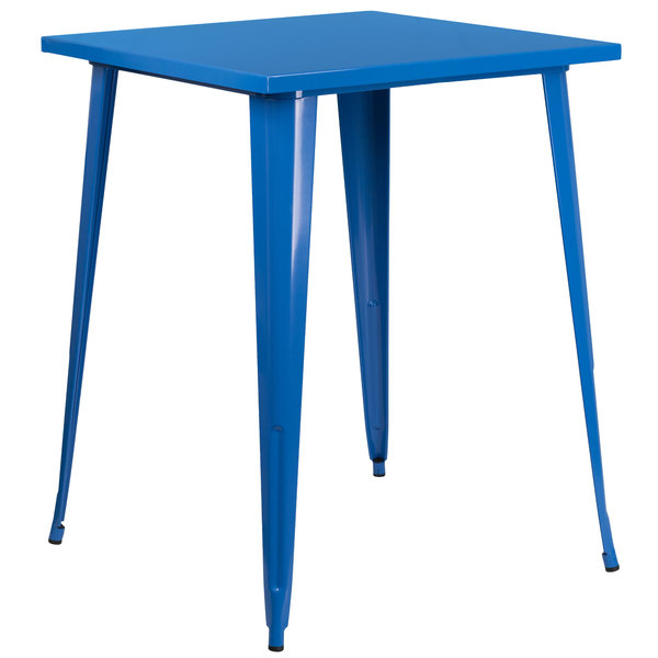"""Flash Furniture CH-51040-40-BL-GG 31 1/2"""" Blue Metal Indoor / Outdoor Square Bar Height Table Main Image 1"""
